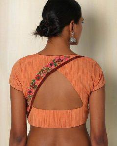 30.Orange High neck Back Blouse design