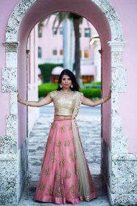 31.Designer Golden pink bridal lehnga
