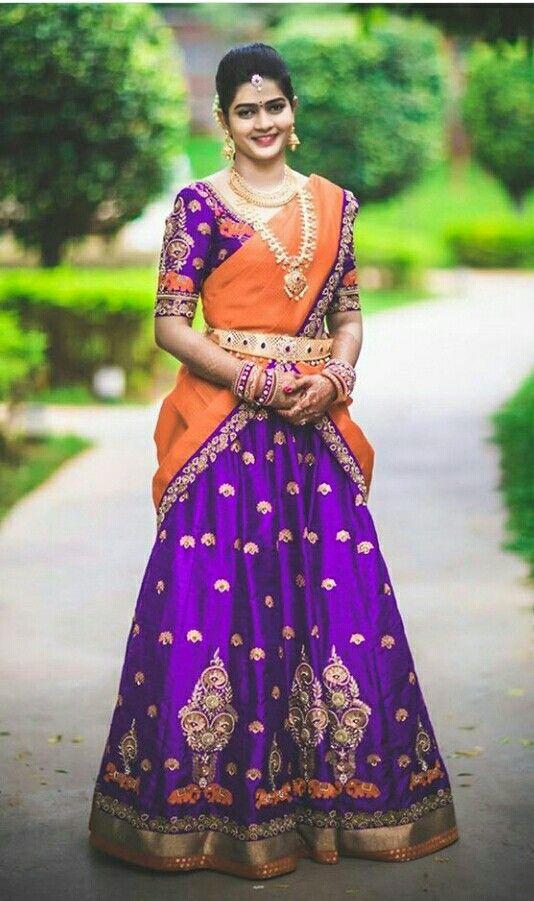 33.Purple with Orange bridal lehnga