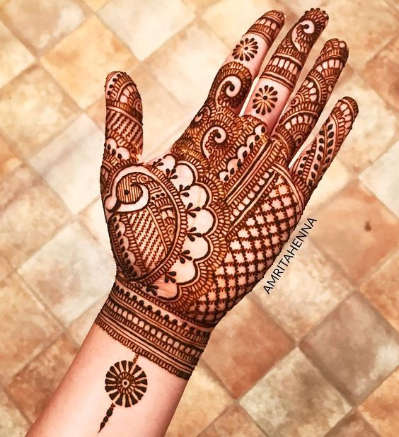 34.Full Hand Peacock Mehndi Design