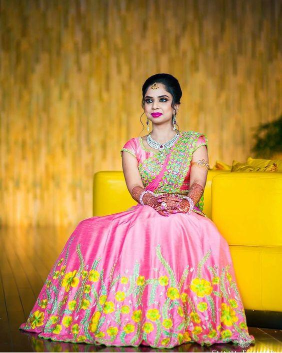 37.Pink Floral Designer Lehnga