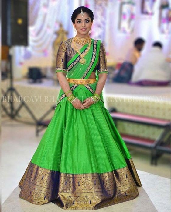 41. Green Traditional half saree