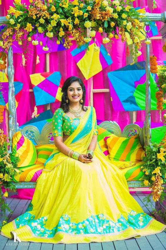 45.Yellow with Green Bridal Lehnga