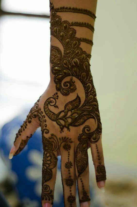 47.Modern Peacock Henna Design
