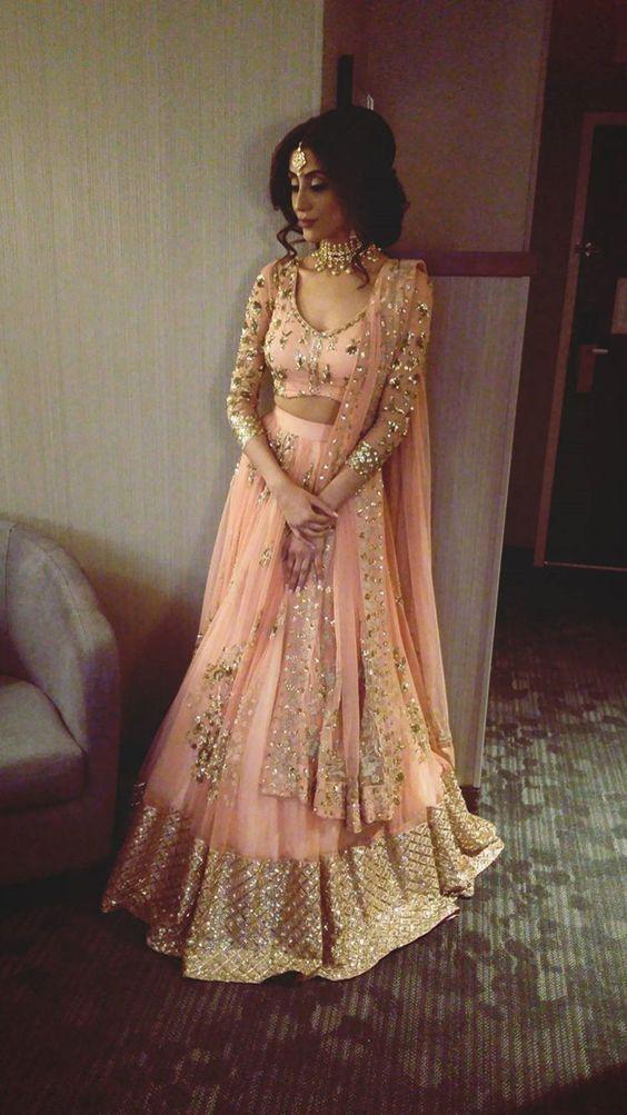 48.Full Sleeve Pink Bridal Lehnga