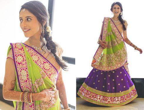 52.Green with Purple Bridal Lehnga