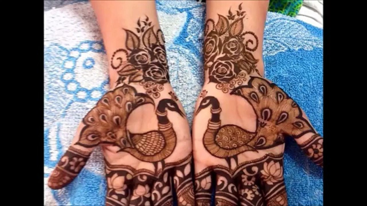 54.Peacock henna with Roses