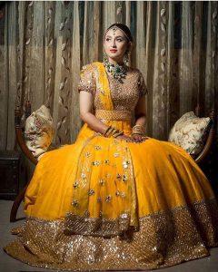 55.Yellow Glittering bridal lehnga