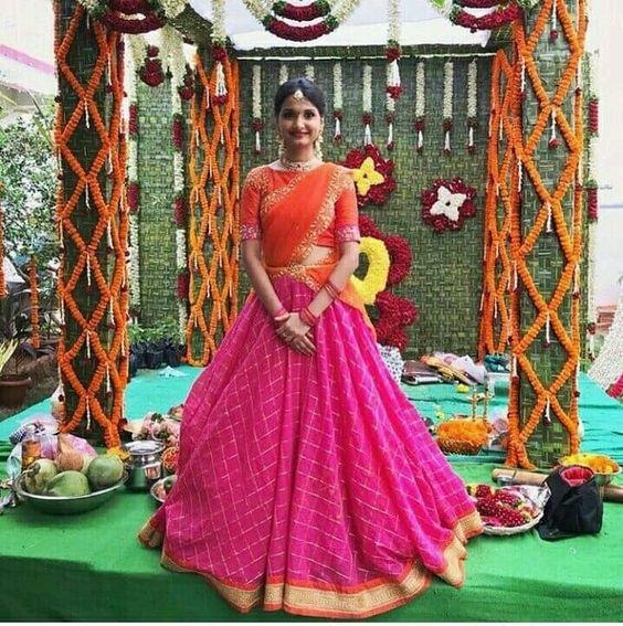 7.Pink With Orange Bridal Lehnga