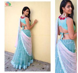 9.Designer blue back high neck blouse with flowers
