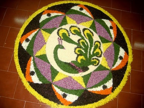 18.Peacock with Tricolor Flag Rangoli