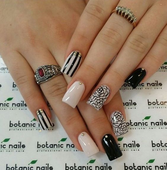 13.Rose Black and white nail art