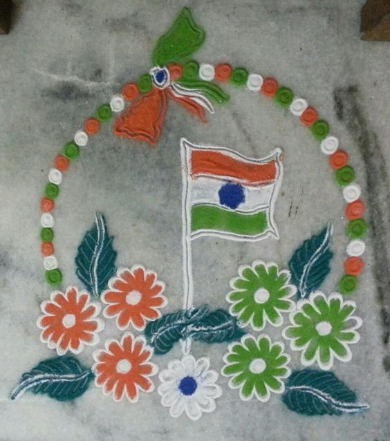24.Dots and Flag Rangoli
