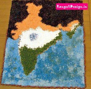 13.India Map Rangoli Design