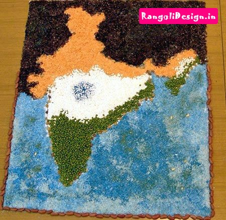 13.India Map Rangoli Design
