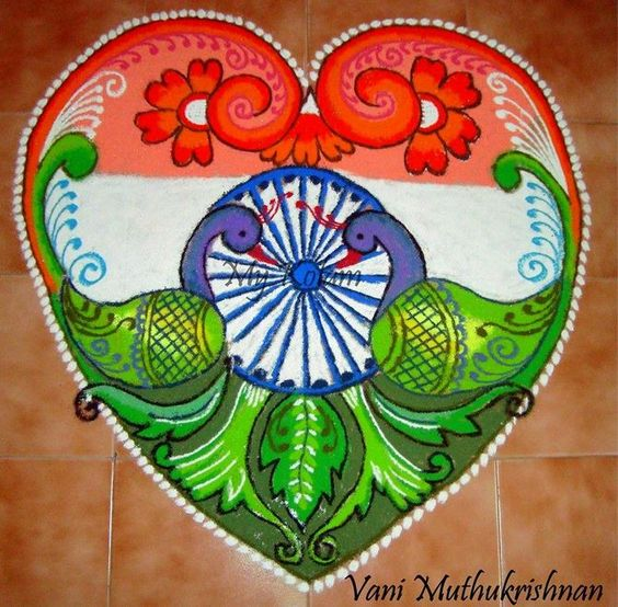 16.Double peacock Independence Day Rangoli
