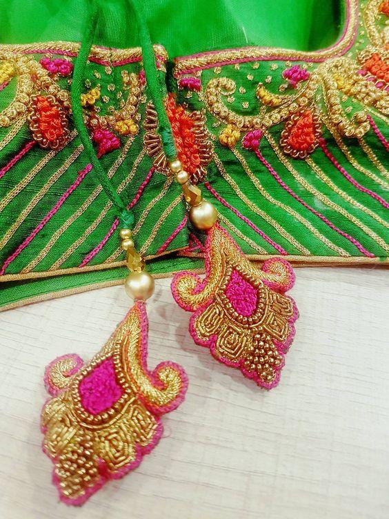 2.Pink Design Blouse tassels