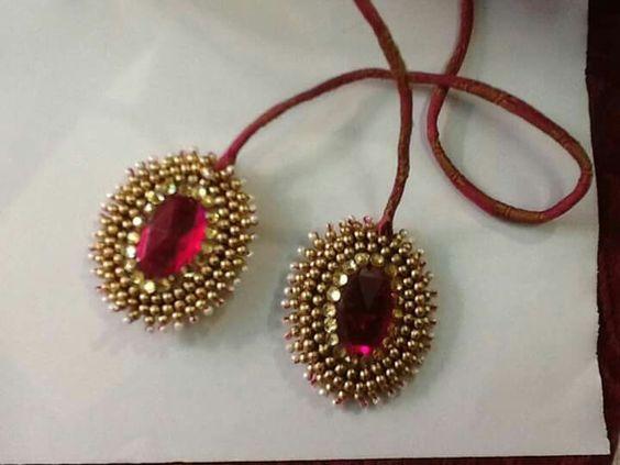 5.Red Kundan stone tassel