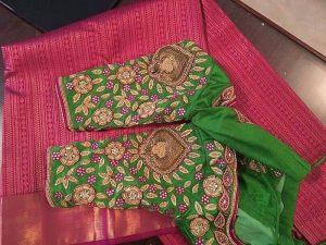 11.Bead work in flowers bridal blouse design