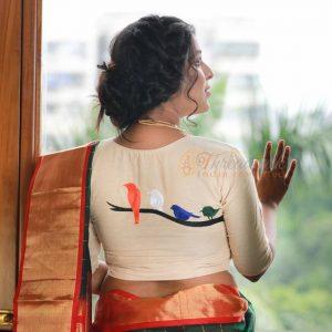 11.Birds design in blouse back