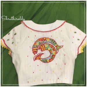 13.Double Fish Blouse back design