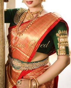 14.Gopuram shape work in bridal blouse