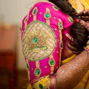 31.Lotus bridal blouse design