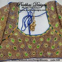 33.Heavy stone work in bridal blouse green