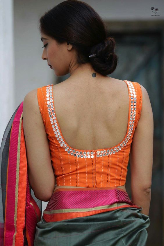 4.Mirror work in blouse back