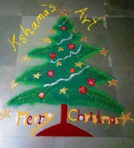 11.Glittering Christmas tree rangoli