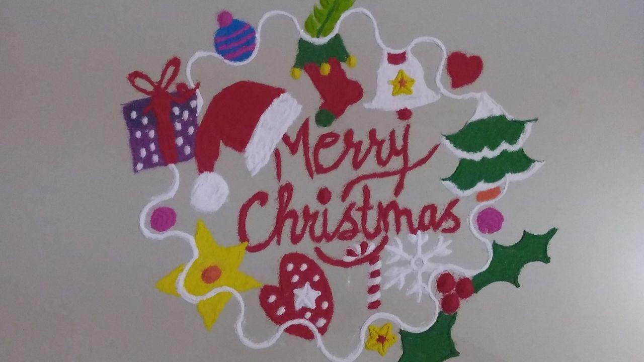 15.Round Merry christmas rangoli