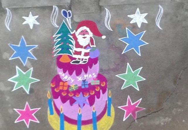 16.Santa in Christmas cake rangoli