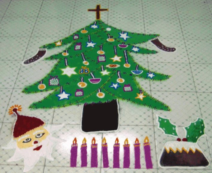 8.Santa and Christmas Tree rangoli