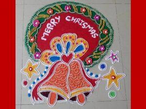 9.Red Christmas Bell rangoli
