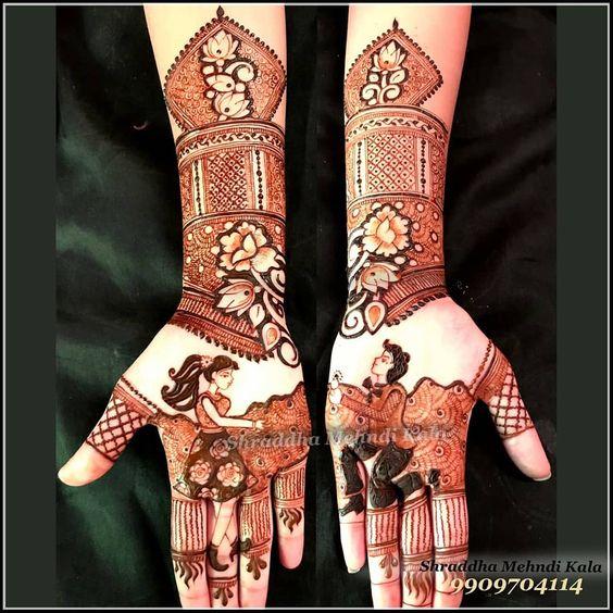 11.Cute couple proposal mehndi design