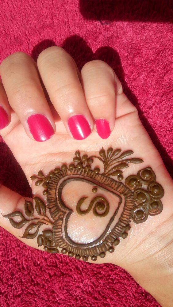 20.Heart with S arabic mehndi design