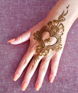 21.Heart with A mehndi design