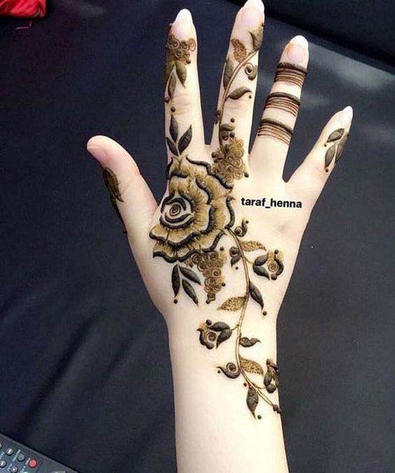 3.Rose Mehndi design #3