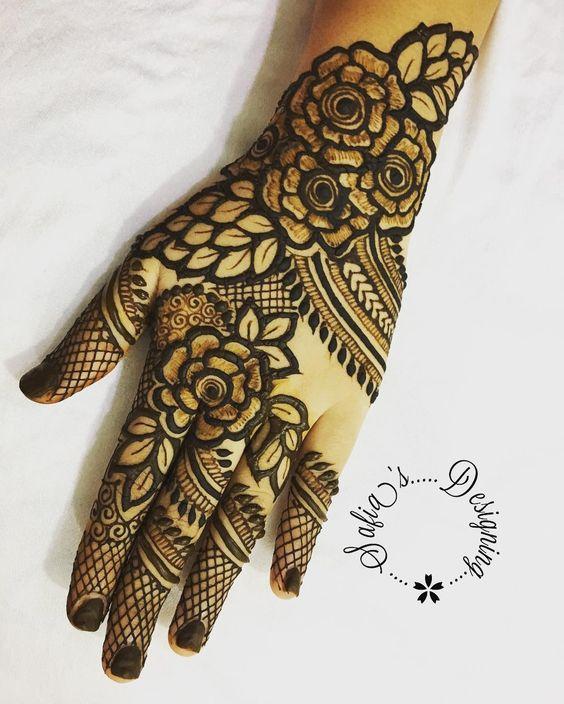 45.Rose Mehndi design #45