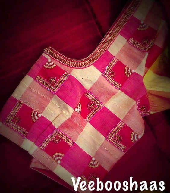 1.Check blouse design #1