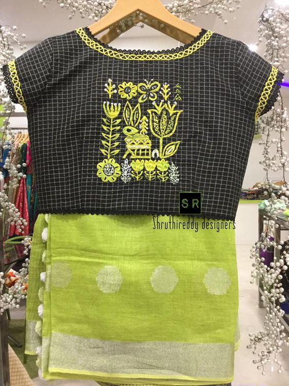 17.Check blouse design #17