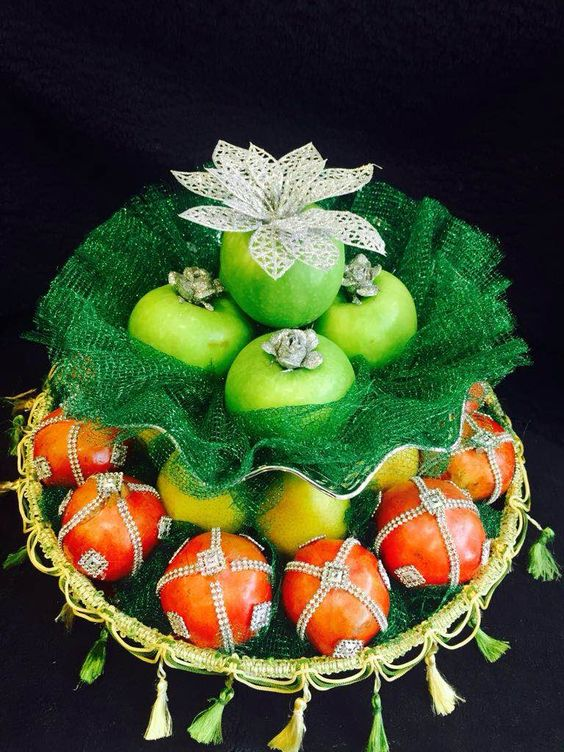 pomegranate and Orange Plate Decoration with silver flower & Fruit Decoration for Wedding | Fruit Decoration Plate Designs ...