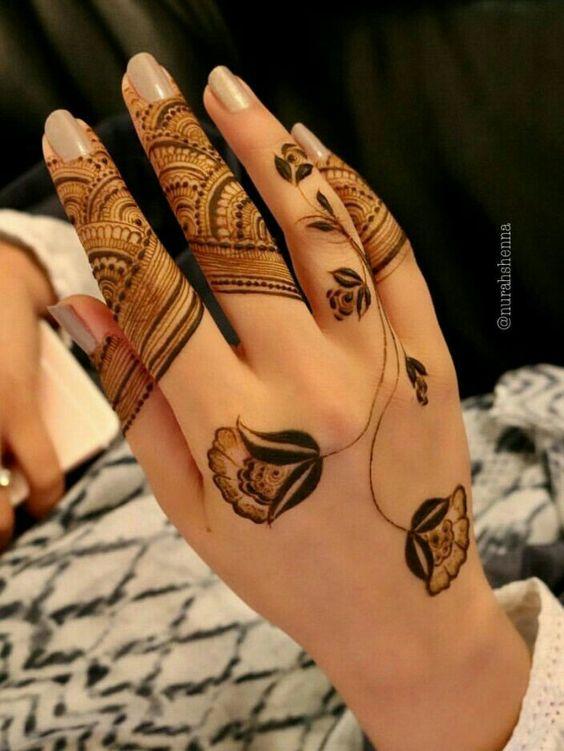 Latest Rose arabic mehndi design