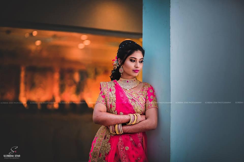 Bride's Pink designer saree