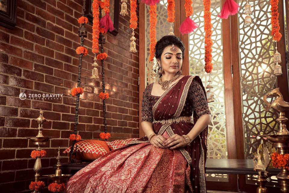 Maroon with orange half saree