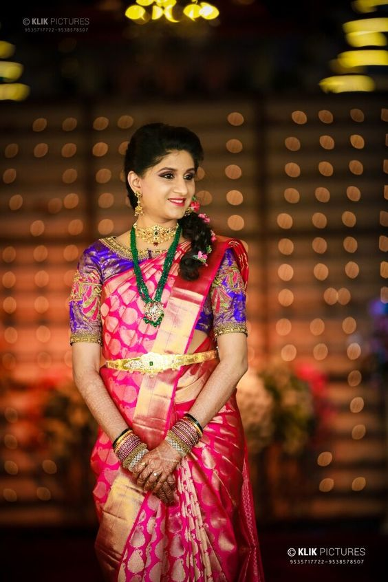 Traditional Red silksaree with blue blouse
