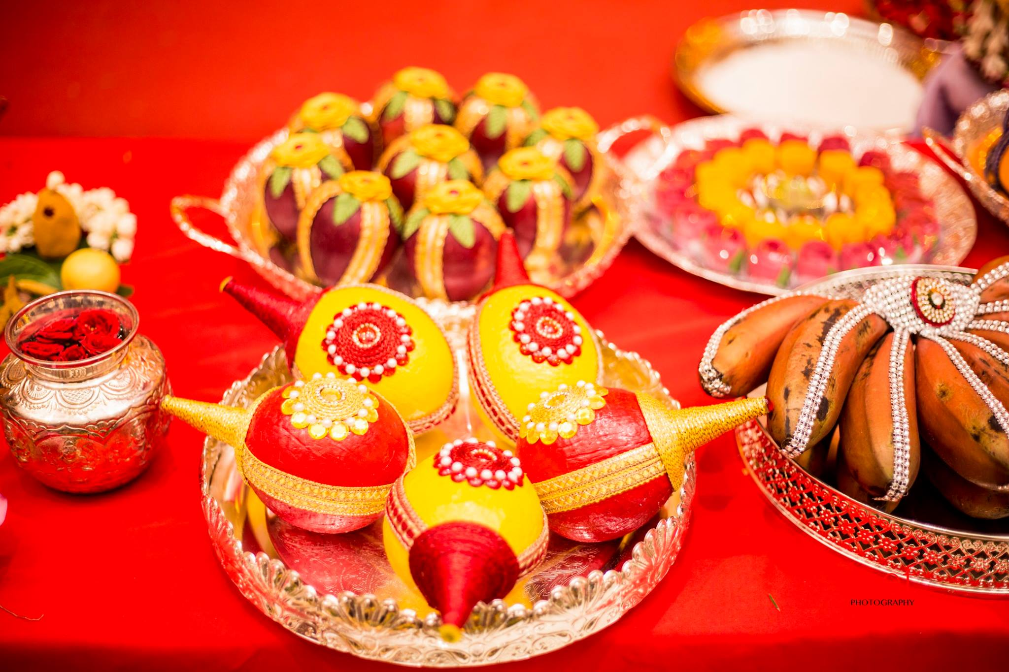 Yellow and red painted Coconuts & Fruit Decoration for Wedding | Fruit Decoration Plate Designs ...