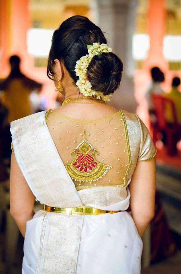 772d42000a8e7d Elegant White saree with Golden Blouse | Photo Gallery ...