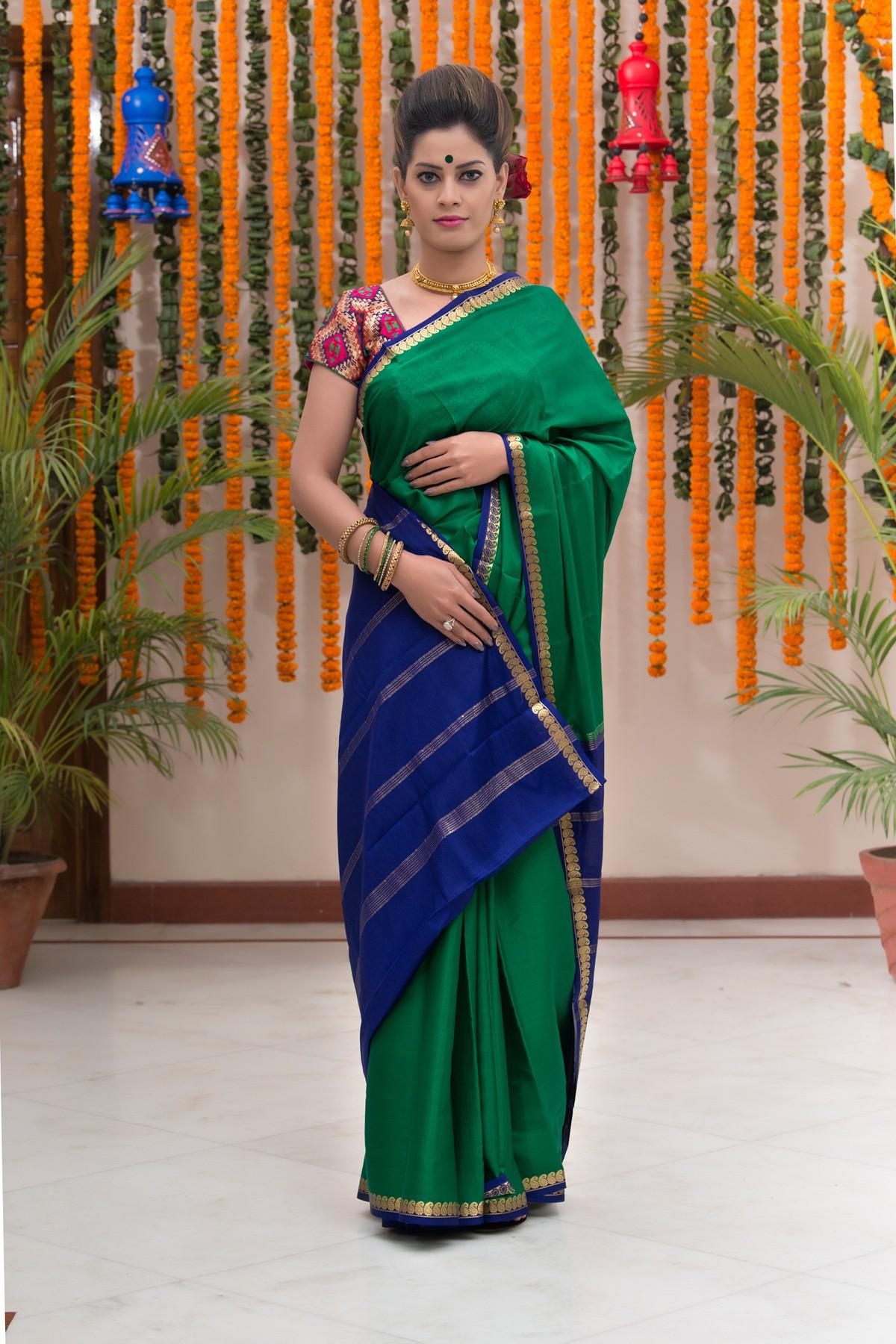 Green with Royal Blue border saree