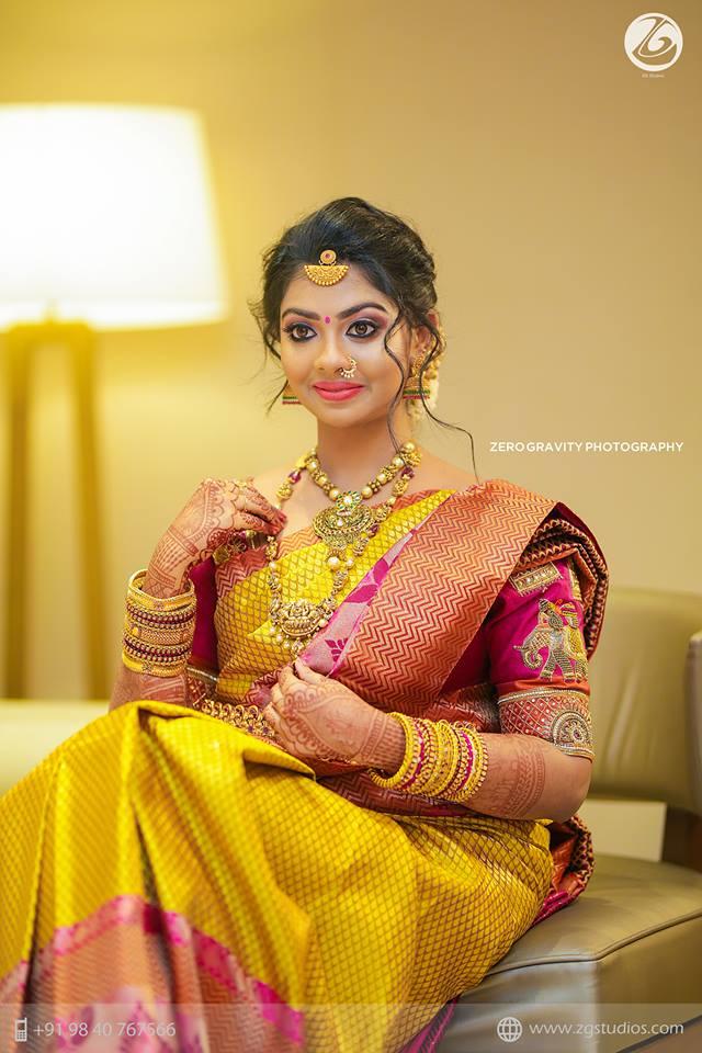 Mustard and pink kanchipuram silk saree